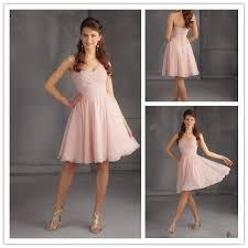 light pink knee length dress chiffon dress knee length sweetheart neck sleeveless 2015 bridesmaid