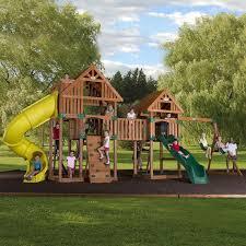 Backyard Adventures Reviews Kids Outdoor Playsets Plans Big Backyard Lexington Wood Gym Set