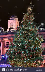 christmas tree in the somerset house courtyard london england