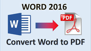 Word To Pdf Word 2016 Convert Word To Pdf How To Create A Pdf File From