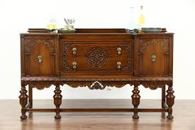 tudor design 1925 antique carved oak sideboard server or buffet