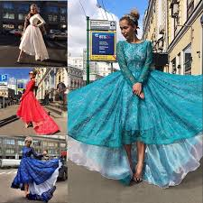 lace long sleeves high low prom dresses 2017 cheap evening