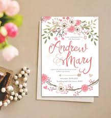 romantic pastel flower wedding invitation instant download
