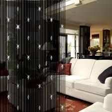 Wire Curtain Room Divider by Cool Black Living Room Curtain Divider With Sparkling Motive
