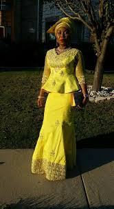 oleic styles in nigeria yellow george skirt and blouse african style nigerian fashion