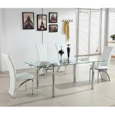 White Extending Dining Table And Chairs Alicia Extending Glass Dining Table With 6 Ravenna White Chairs