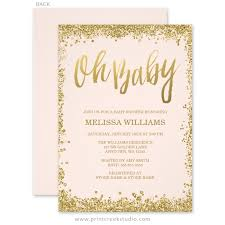 pink and gold baby shower invitations oh baby blush pink gold glitter baby shower invitations print