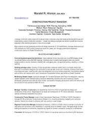 facility manager resume sample resume builder denver co resume template manager construction facilities in denver co resume wendell hinman