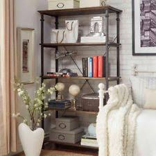 Distressed Wood Bookcase Rustic Primitive Metal Bookcases Ebay