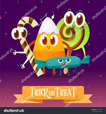 set cartoon candy halloween greeting cards stock vector 493533955