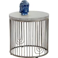 sargon side table w concrete top on antique silver cage base metal