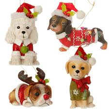 raz ornamnets poodle dachshund hound lab set of 4