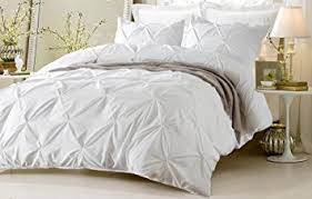 amazon com 3pc pinch pleat design white duvet cover set style