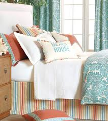 Turquoise Bedroom Ideas Bedroom Coral And Turquoise Bedding With Black Headboard And