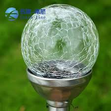 Crackle Globe Solar Lights by Wholesale Stainless Steel Colorful Crackle Glass Globe Solar Light