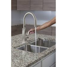 Hands Free Kitchen Faucet Moen S72308esrs Sto Spot Resist Stainless Pullout Spray Kitchen