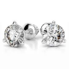 diamond stud earings 18k 1ctw vs2 si1 g h back martini diamond stud earrings