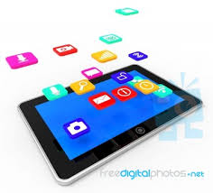 social media tablet indicates application software and