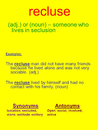 antonyms for isolation recluse adj or noun someone who lives in seclusion exles