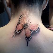 butterfly design on neck only tattoos