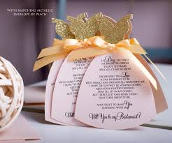 bridesmaid invitation card bridesmaid card in dress shape gold and blush will you be my