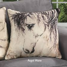 equine home decor regale mare horse sketch pillow from back in the saddle beer
