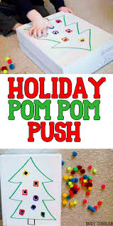 holiday pom pom push easy math motor activities and math activities