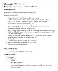 Resume For Call Centre Job by Team Lead Job Description Registered Nurse Team Leader Job