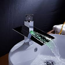 faucets images color changing led waterfall bathroom sink faucet