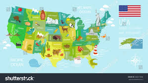 Mexico Map With States tourist infographics about america national symbols stock vector