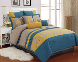 best quality queen 9pc taupe blue and yellow polyester comforter