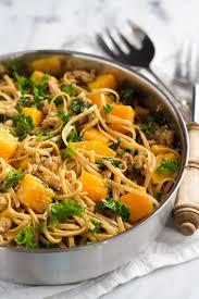 kale sausage and butternut squash linguine pasta