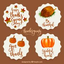 thanksgiving watercolor stickers vector free