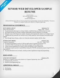 web developer resumes developer resume exles senior web developer resume exle tgam