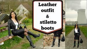crossdresser stockings high heels crossdresser full leather outfit and black high heels stiletto