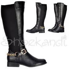 boots uk wide calf shoekandi knee high wide calf flat boot gold buckle