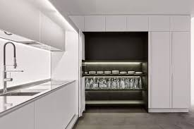 Contemporary Kitchen Laminate Hidden With Recessed Doors