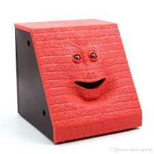 money box facebank brick design money piggy bank munching money