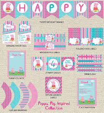 peppa pig birthday collection printable etsy zara birthday