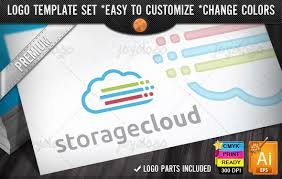 internet applications it cloud storage logo design template