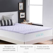 amazon com lucid 2 inch 5 zone lavender memory foam mattress