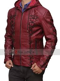 red leather motorcycle jacket arrow arsenal jacket red hooded leather jacket