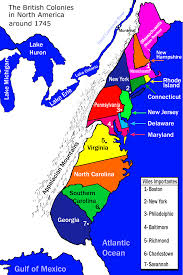New France Map by New France And The 13 Colonies Around 1745 Societies And