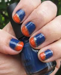 navy blue and orange nails youtube
