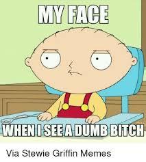 Stewie Griffin Memes - my face when iseealdumbbitch via stewie griffin memes kermit the