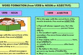 formation from verb to noun or adjective