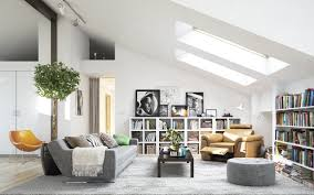 comfy gray sofa attic living room ideas classic motife ceiling