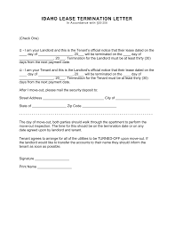 Letter Of Intent For Commercial Lease Sample by Free Idaho Termination Lease Termination Letter Form 30 Day