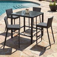 High Patio Dining Set Dining Tables Patio Bar With Umbrella Rod Iron Furniture Height