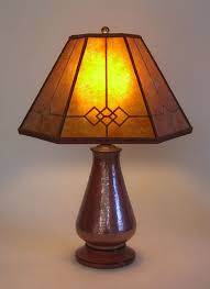 Copper Table Lamp Copper Small Table Lamp Amber Windowpane Mica Mission Lamp Shade